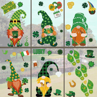 Gnome Dolls Window Clings For Easter And St. Patrick's Day Decoration