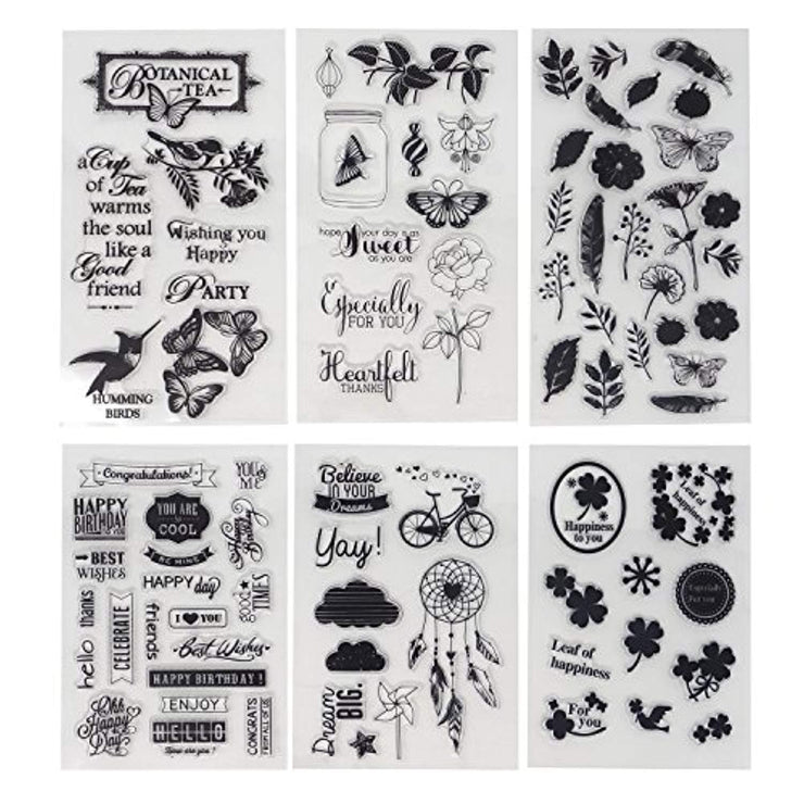 6 Sheets Different Theme Friendly Phrases Pretty Patterns Silicone Clear Stamps for Card Making Decoration and Scrapbooking