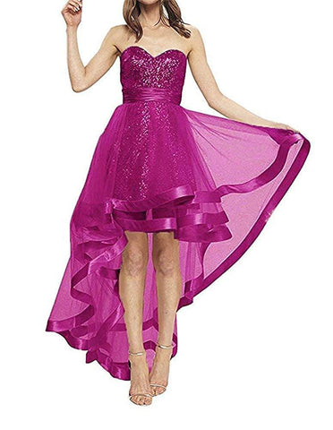 Dresses Sequins Strapless High Low Prom Evening Wedding Party Dress