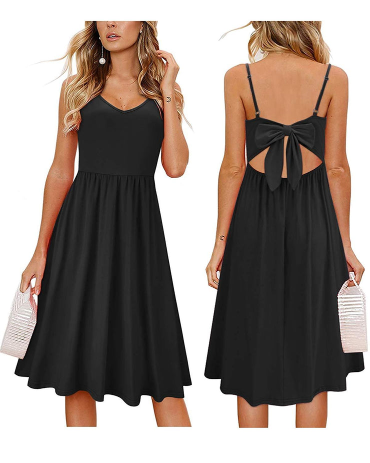 Womens Summer Backless Adjustable Spaghetti Strap Tie Back Plain Dress