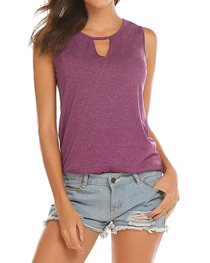 Womens Backless Tank Tops Sleeveless Keyhole Blouse Sexy Summer Tshirt
