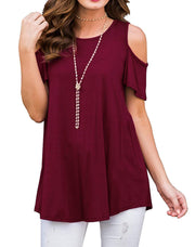 Women's Short Sleeve Casual Cold Shoulder Tunic Tops Loose Blouse Shirts