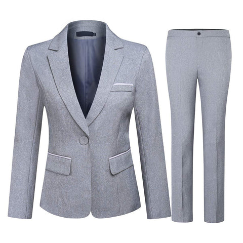 Women's 2 Piece Office Lady Business Suit Set Slim Fit Blazer Pant