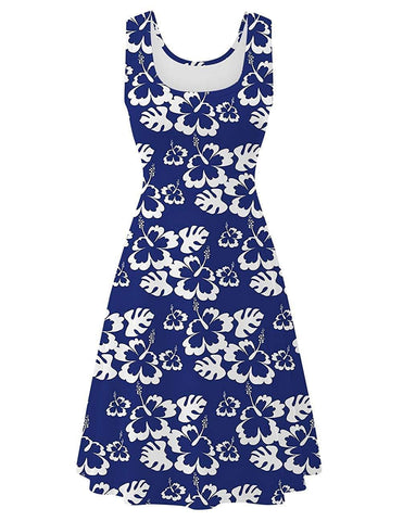 Womens Sleeveless Dress Casual Print Scoop Neck Sundress A Line Midi Dresses