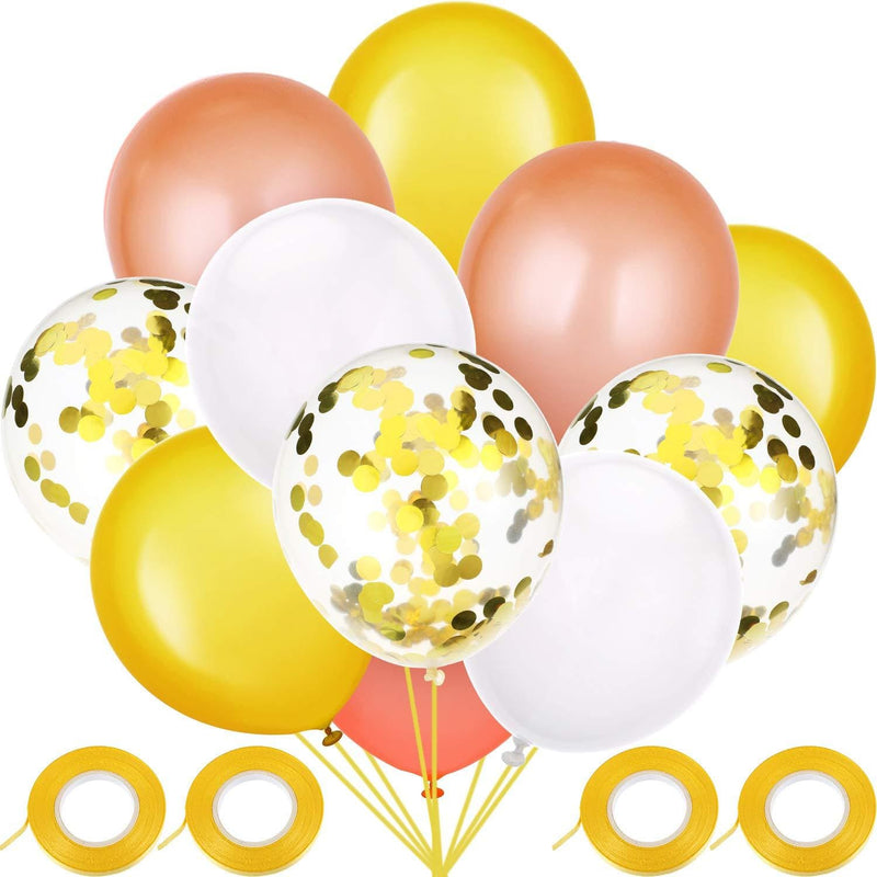 60 Pieces Solid Color Latex Balloons Party Decorative Balloons (Rose Gold, Gold, White)