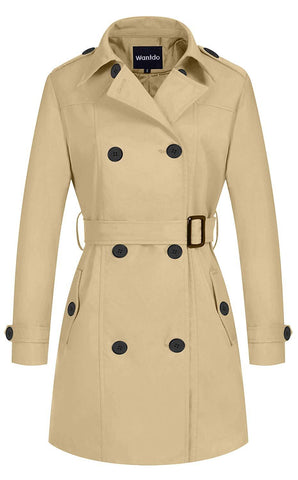 Women's Double-Breasted Trench Coat with Belt