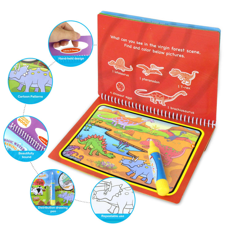 8 styles Magic Water Drawing Book Coloring Doodle & Magic Pen Drawing Toys