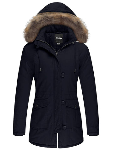Women's Cotton Padded Parka Coat with Removable Fur Hood