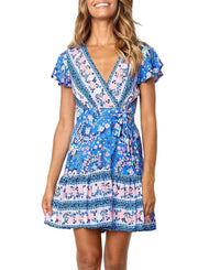 Women's Summer Wrap V Neck  Mini Dress