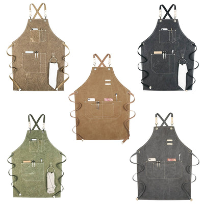 Cotton Canvas Cross Back Adjustable Apron With Pockets And Loop