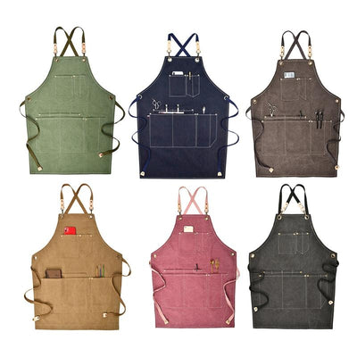 Adjustable Canvas Apron With Pocket & Cross-Back Straps For Men And Women
