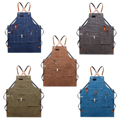 Canvas Work Apron With Pockets And Adjustable Back Straps