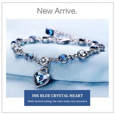 Romantic Blue Love Crystal Bracelet Adjustable Length Valentine's Day Gift
