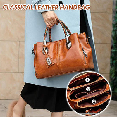 Classical Retro Leather Multi Pockets Women Handbag