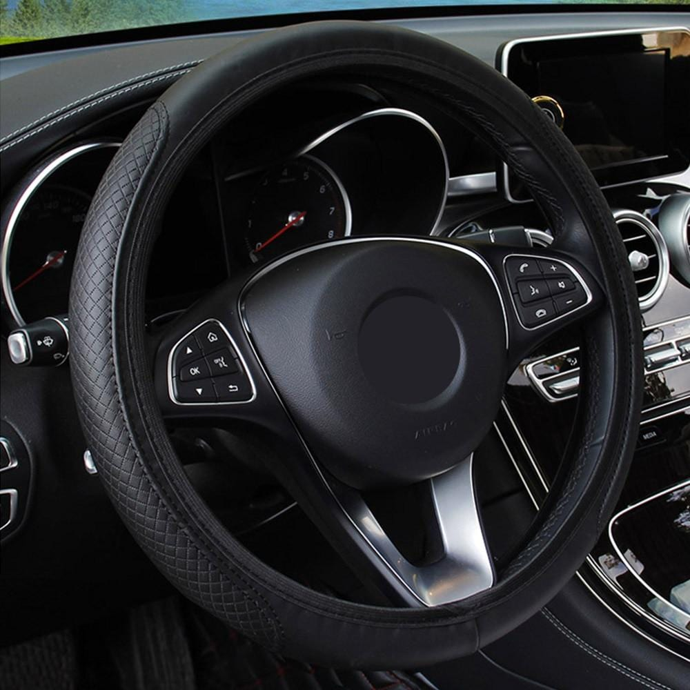Car Steering Wheel Cover Skidproof Auto Steering- wheel Cover Anti-Slip Universal Embossing Leather Car-styling