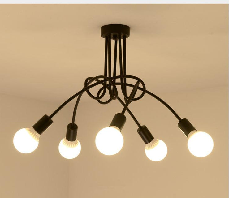 Hot Vintage Industrial Loft Chandelier Ceiling Lamp With 5 Lights (Black) bulbs not included