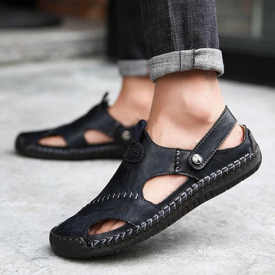 Men Sandals 2019 Summer Casual Leather Flat Shoes