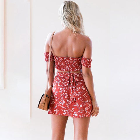 New summer European fashion personality beach holiday sexy wrapped chest sexy casual high waist ladies two-piece suit