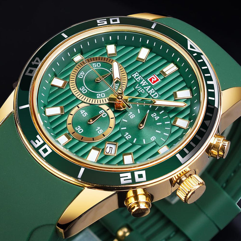Fashion Green Dial Calendar Display Quartz Sport Wrist Watch