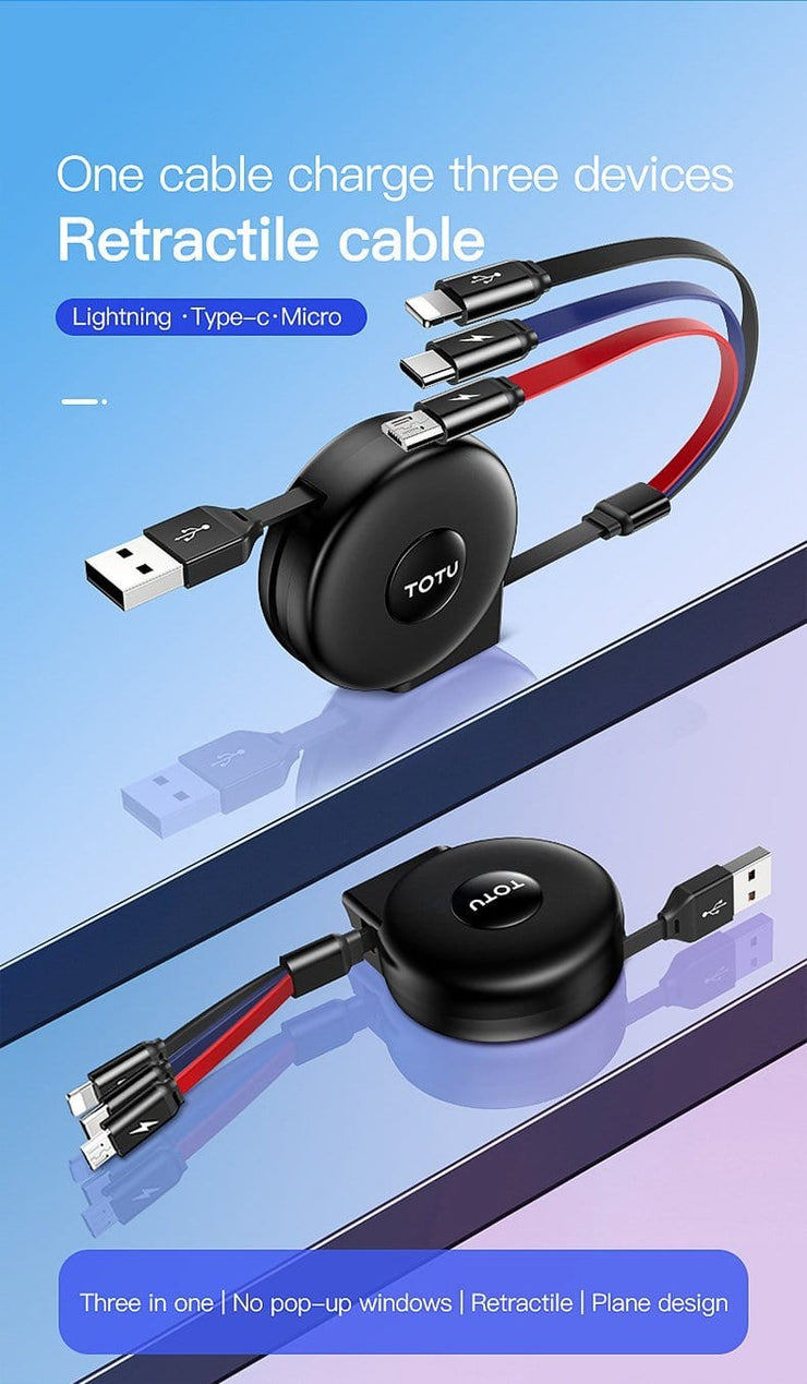3 in 1 Retractable Multi Connector USB Cable Retractable Charging Cable