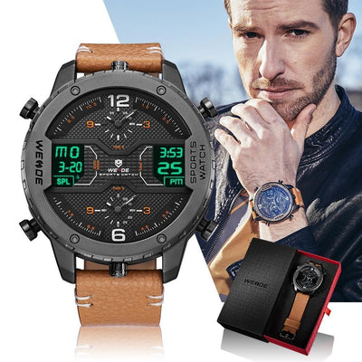 Men's Digital Analog Leather Strap Sports Watch