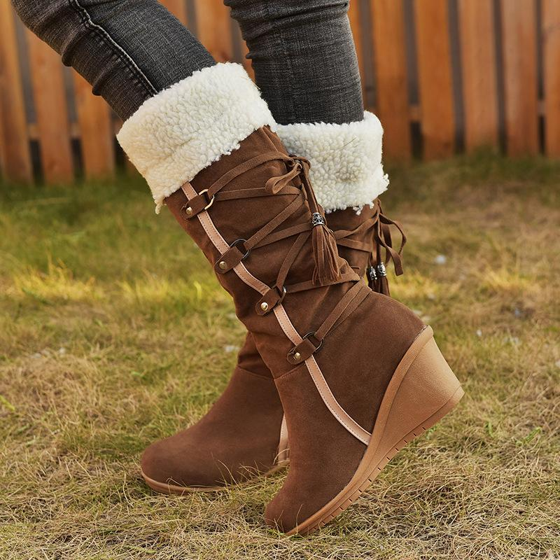 Lace-ups Tassels Ladies Wedges Snowshoes