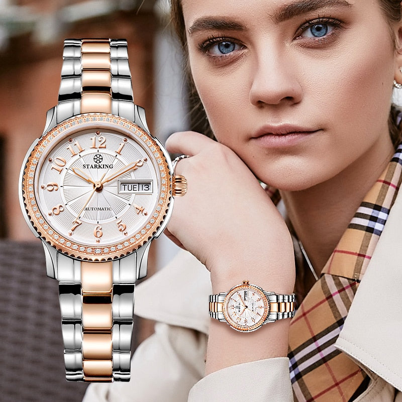Women Mechanical Watch  Stainless Steel Wristwatch