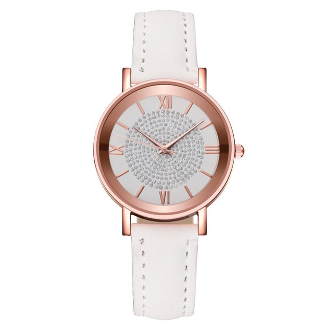 2020 Starry Sky Dial Watches for Women Fashion Roman Scale Rhinestone Leather Quartz Watch