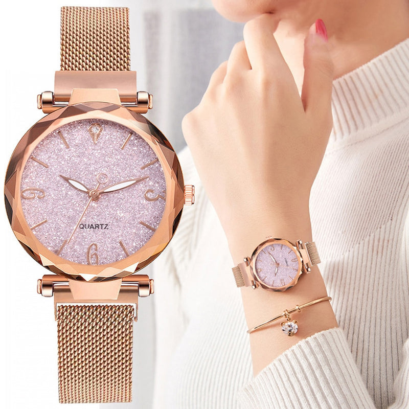 Rose Gold Women Watch 2020 Top Brand Luxury Magnetic Starry Sky Lady Wrist Watch