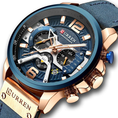 Casual Sport Watches for Men Blue Leather Wrist Watch