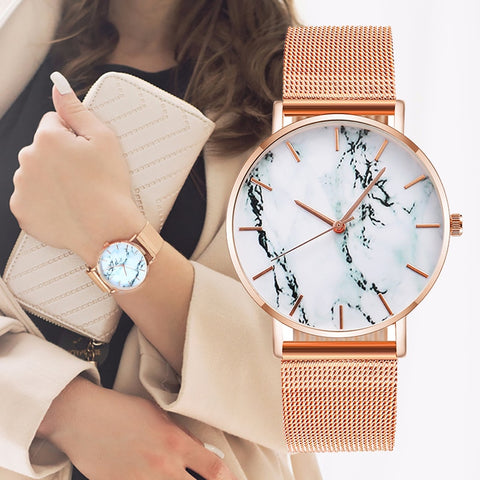 Fashion Rose Gold Mesh Band Creative Marble Female Wrist Watch