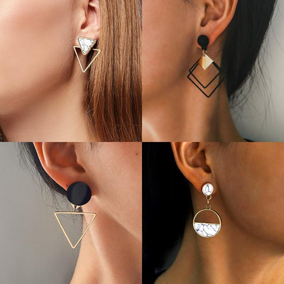 X&P New Fashion Round Dangle Drop Earrings For Women Geometric Round Heart Gold Earring Wedding 2021