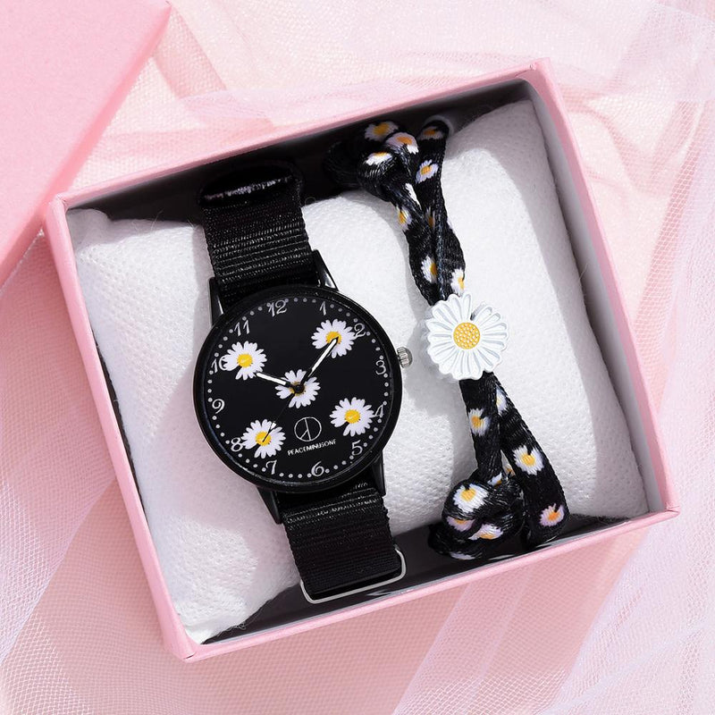 Fashion Daisy Flowers Nylon Band Watches For Women