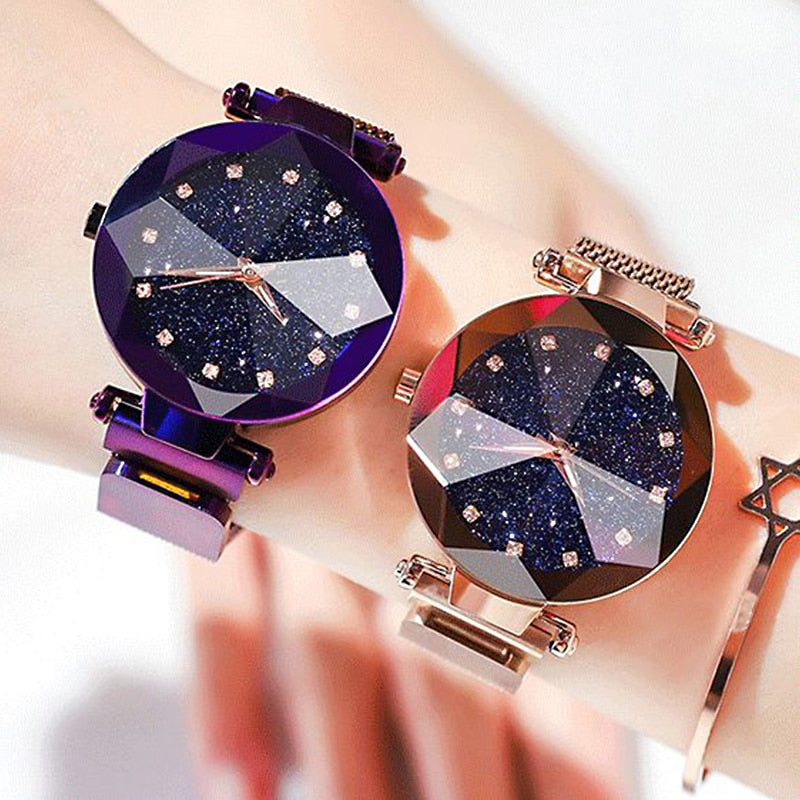 Ladies Magnetic Starry Sky Clock Luxury Women Watches Fashion Diamond Female Quartz Wristwatches