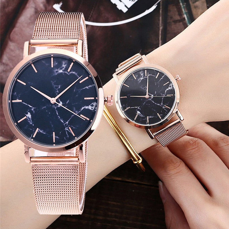 Women Marble Gold Silver Mesh Band Wrist Watch Digtal Quartz Watches