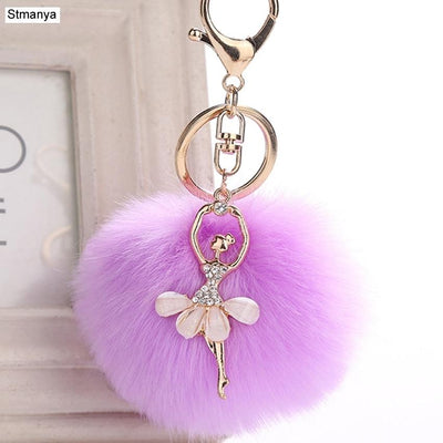 WomenAngel Keychain 8cm Fur Pom Pom Key Chain Faux Rabbit Hair Bulb Bag Car Pendant dance girl Fox Fur Ball Key Ring Party gift
