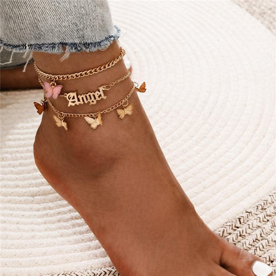 WUKALO Fashion Multilayer Cute Butterfly Anklets for Women Bohemian Simple Anklet Gold Color Chain Ankle Bracelet on Leg