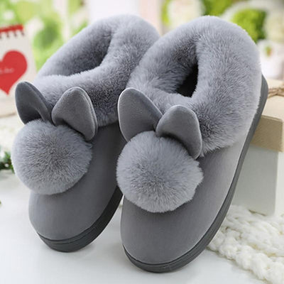 Women Warm Slippers Velvet Snow Female Slipper Indoor Home Shoes Casual Ladies Soft Comfort Shoe Woman Furry Rabbit Ears Plush