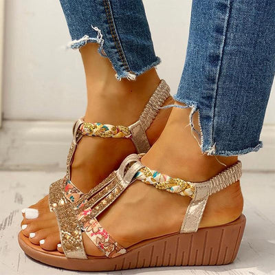 Women's Sandals Summer Bohemia Thick Platform Wedge Shoes Crystal Gladiator Rome Woman Beach Casual Elastic Band Female 2021