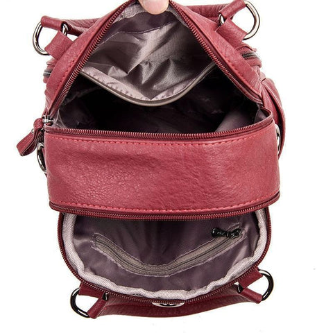 Fashion Leather Multipurpose Backpack Shoulder Handbag
