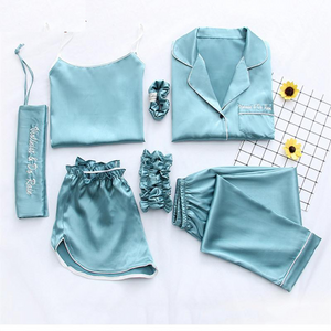 2018 Fashionable Women Sleepwear collection - Sexy 7-Pcs Silk Pajamas For Night Suit Sleepwear