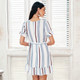 2018 Fashionable Women Dresses collection - V neck stripe ruffle Wrap style cotton short dress