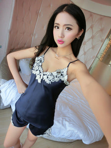 2018 Fashionable Women Sleepwear collection - Sexy Silk Satin Sleeveless Sleepwear