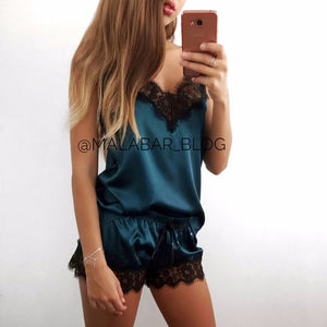 2018 Fashionable Women Sleepwear collection - 2-Pcs Sexy Satin Black Lace Sleeveless sleepwear