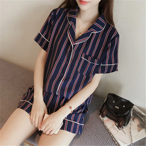 2018 Fashionable Women Sleepwear collection - 2-Pcs Turn-down Collar Sleepwear Set (Shirt+Shorts)
