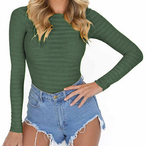 2018 Fashionable Women Bodysuits collection - Sexy Stretchy Rompers Long Sleeve O Neck Bodysuits