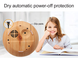 Electric Ultrasonic air aroma Essential Oil Diffuser humidifier (300ML - 7 LED color options, Remote, USB, wood grain)