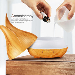 Wood Ultrasonic air aroma Essential Oil Diffuser humidifier (400ML - 7 LED color options - remote control)