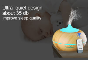 Electric Ultrasonic air aroma Essential Oil Diffuser humidifier (300ML - 7 LED color options, Remote Control, USB charging - wood)