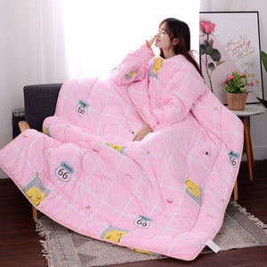 Lazy Quilt Comforter Blanket with Sleeves